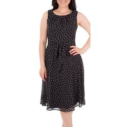 NY Collection Womens Tie Waist Fit & Flare Dress