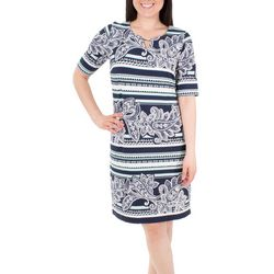 NY Collection Womens Elbow SLeeve Shift Dress