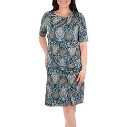 NY Collection Womens Draped Printed Shift Dress