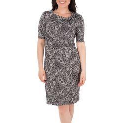 NY Collection Womens Draped Paisley Shift Dress
