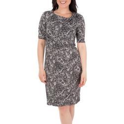 Womens Draped Paisley Shift Dress