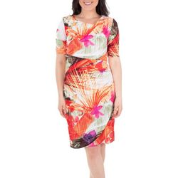NY Collection Womens Floral Draped Shift Dress