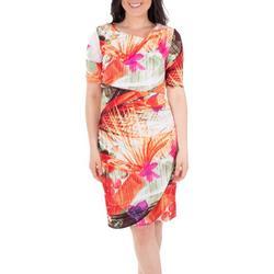 Womens Floral Draped Shift Dress