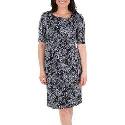NY Collection Womens Paisley Draped Shift Dress