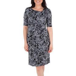Womens Paisley Draped Shift Dress