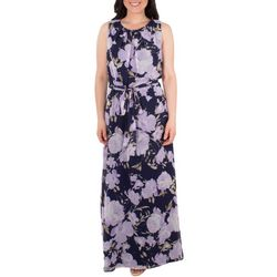 NY Collection Womens Floral Tie Waist Pleated Maxi Dress