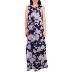 Womens Floral Tie Waist Pleated Maxi Dress