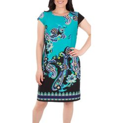 NY Collection Cap Sleeve Printed Shift Dress
