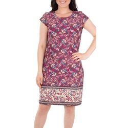 NY Collection Womens Cap leeve Border Print Shift Dress