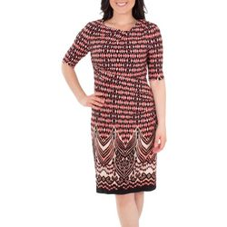 NY Collection Womens Draped Abstract Shift Dress