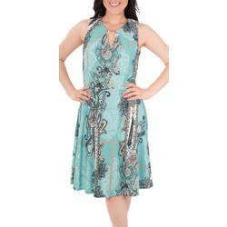 Womens Keyhole Fit & Flare Dress