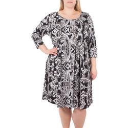 Plus 3/4 Sleeve Pleated Dress