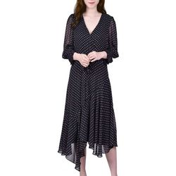 NY Collection Womens Dots Faux Wrap Midi Dress