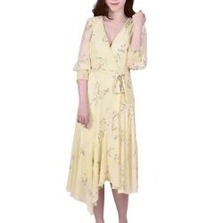 NY Collection Womens Floral Faux Wrap Midi Dress