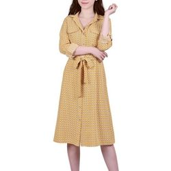 NY Collection Womens Geometric Button Down Dress