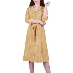 Womens Geometric Button Down Dress