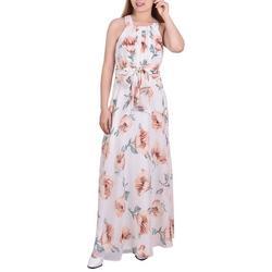 Petite Floral Chiffon Sleeveless Dress