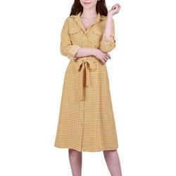 Petite Geometric Button Down Dress
