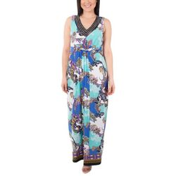 NY Collection Womens Knot Front Maxi Dress