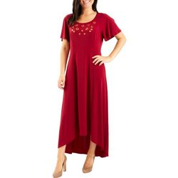 NY Collection Womens Flutter Sleeve Maxi Dress
