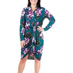 Womens Floral Side Tie Shift Dress