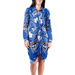 NY Collection Womens Floral Side Tie Shift Dress