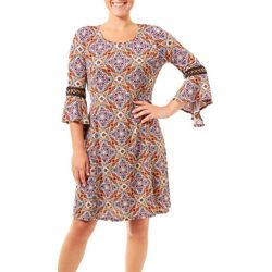 NY Collection Womens Medallion Crochet Bell Sleeve Dress