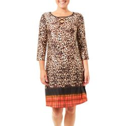 NY Collection Womens Animal Print Kayhole Dress