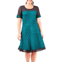 NY Collection Womens Polka Dot Mesh Flare Dress