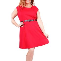 Plus Short Sleeve Belted Dress