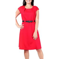 NY Collection Petite Short Sleeve Belted Dress