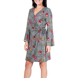 NY Collection Petite Plaid Bell Sleeve Wrap Dress