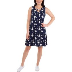 NY Collection Womens Lattice Front Star Dress