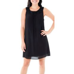 NY Collection Womens Crocket Neckline Dress