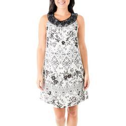 Womens Floral Crochet Neckline Dress