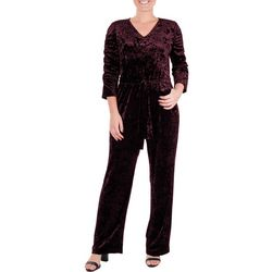 NY Collection Petite Velvet Ruched Sleeve Jumpsuit