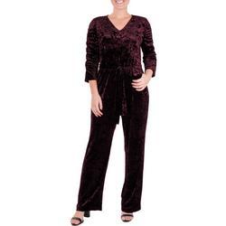 Petite Velvet Ruched Sleeve Jumpsuit