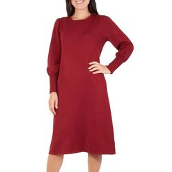 NY Collection Womens Pearl Bishop Sleeve Sweater Dress