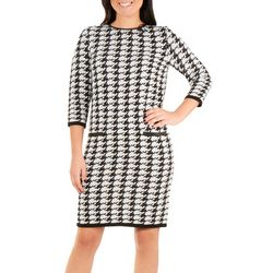 NY Collection Womens Houndstooth Sweater Dress