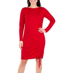 NY Collection Womens Drawstring Sweater Dress