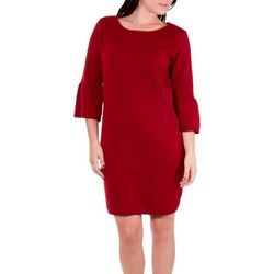 NY Collection Womens Solid Bell Sleeve Sweater Dress