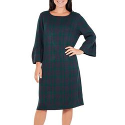 Womens Plaid Bell Sleeve Sweater Dress