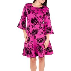 NY Collection Womens Flocked Bell Sleeve Sheath Dress