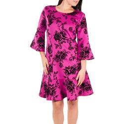 Womens Flocked Bell Sleeve Sheath Dress