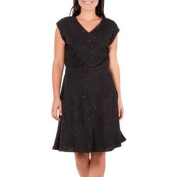 NY Collection Womens Glitter V Neck Dress