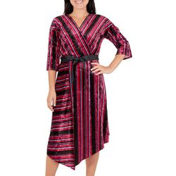 NY Collection Womens Stripe Velvet Asymmetrical Dress