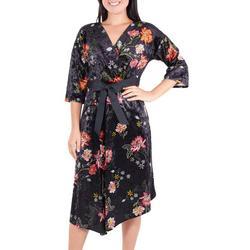 Womens Floral Velvet Faux Wrap Dress