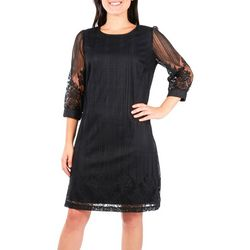 NY Collection Womens Border Lace A-Line Dress