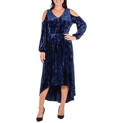 NY Collection Womens Velvet Cold Shoulder Dress