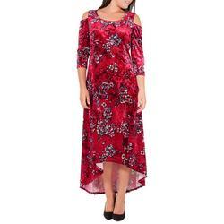 Womens Floral Velvet Cold Shoulder Dress